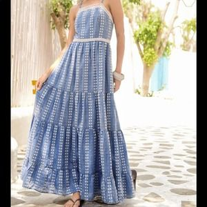NWT Madewell Embroidered blue white tiered dress Madewell Midi Dress